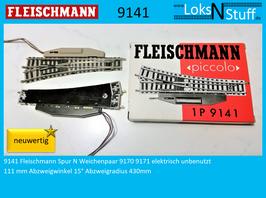 9141 Fleischmann Spur N Weichenpaar mit Elektroantrieb ungebraucht neuwertig
