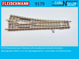 9179 Weiche rechts Handbetrieb, leitendes Herzstück, 111 mm Abzweigwinkel 15°