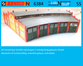 055 Arnold Spur N 6384 Lokschuppen 5-ständig fertig gebautes Modell
