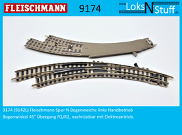 9174 (9142L) Fleischmann Spur N Bogenweiche links Handbetrieb