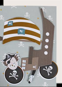 """Postkarte """"Pirat"""" (A5) mit Deko-Elementen"""