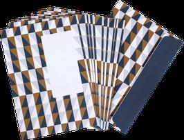 Briefumschläge Squares, blau/ocker (Set mit 10 Umschlägen)