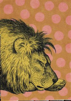 """Postkarte """"schlafender Löwe mit Punkten"""""""