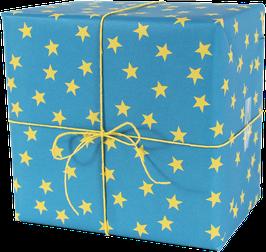 Geschenkpapier Sterne, blau/gelb (3 Bogen)