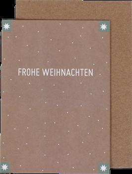 Klappkarte mit 4 Sternen, nude - Frohe Weihnachten