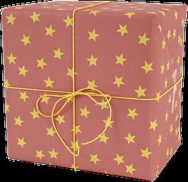 Geschenkpapier Sterne, altrosa/gelb (3 Bogen)