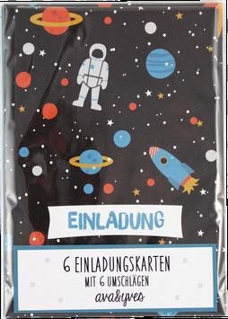 Einladungskarten-Set Space (6 Karten)