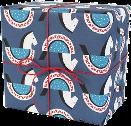 Geschenkpapier Schaukelpferdchen, hellblau/blau (3 Bogen)