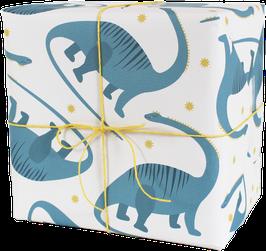 Geschenkpapier Dinos, blau (3 Bogen)