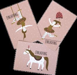 Einladungskarten-Set Zirkusmädchen  (6 Karten)