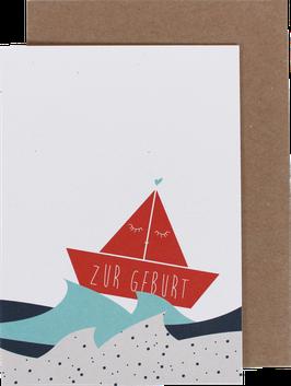 """Klappkarte Schiffchen rot """"Zur Geburt"""""""