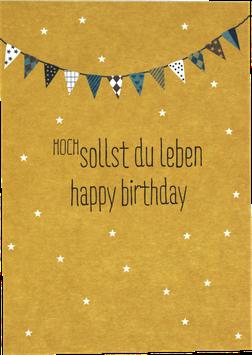 Postkarte Hoch sollst du leben - Happy Birthday