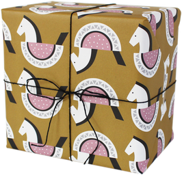 Geschenkpapier Schaukelpferdchen, ocker/rosa (3 Bogen)