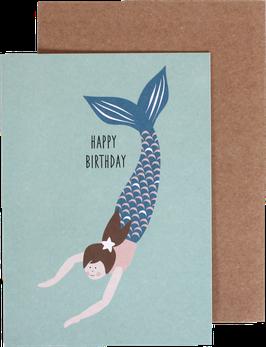 """Klappkarte """"Happy Birthday"""", Meerjungfrau"""