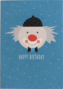 Postkarte Clown, blau - Happy Birthday