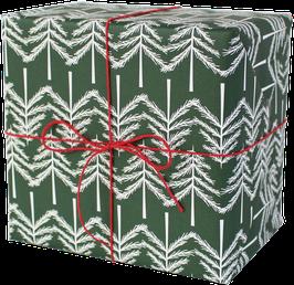 Geschenkpapier Tannenbäumchen, grün/weiss (3 Bogen)