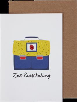 """Klappkarte Ranzen """"Zur Einschulung"""", blau-gelb"""