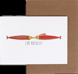 """Klappkarte Fische rot """"Zur Hochzeit"""""""