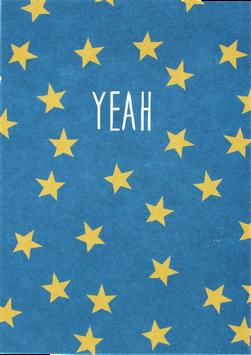 Postkarte mit Sternchen, blau - Yeah