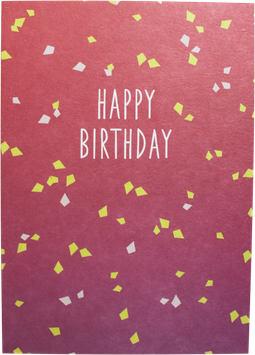 Postkarte Konfetti, rot/lila/gelb - Happy Birthday