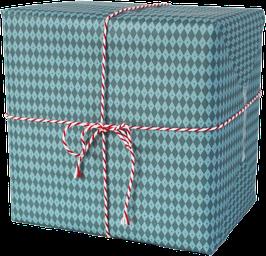 Geschenkpapier Rauten, blau (3 Bogen)
