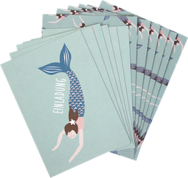Einladungskarten-Set Meerjungfrau (6 Karten)