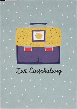 """Postkarte Ranzen """"Zur Einschulung"""", violett-gelb"""