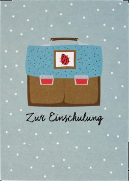 """Postkarte Ranzen """"Zur Einschulung"""", braun-blau"""