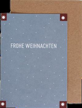 Klappkarte mit 4 Sternen, blau - Frohe Weihnachten