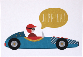Postkarte Rennwagen