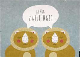"Postkarte Zwei Löwen - ""Hurra Zwillinge"""