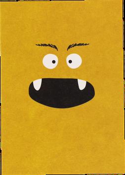 Postkarte Monster, gelb