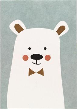 Postkarte Eisbär mit Fliege, eisblau (ohne Text)