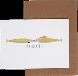 """NEU! Klappkarte Fische pastell """"Zur Hochzeit"""""""
