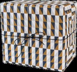 Geschenkpapier Squares, blau/ocker (3 Bogen)