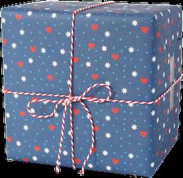 Geschenkpapier Herzchen - Sterne - Punkte, blau (3 Bogen)