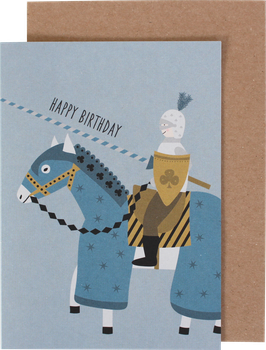 Klappkarte Ritter auf seinem Pferd - Happy Birthday