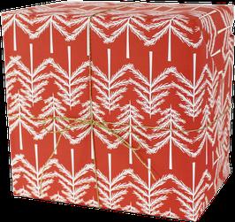 Geschenkpapier Tannenbäumchen, rot (3 Bogen)