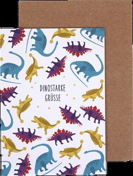 Klappkarte Dinos - dinostarke Grüße
