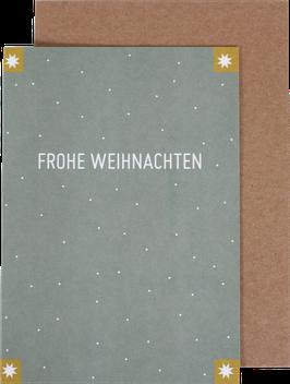 Klappkarte mit 4 Sternen, mint - Frohe Weihnachten