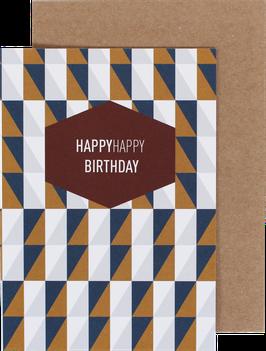 """Klappkarte """"Squares"""" blau/ocker - HappyHappy Birthday"""