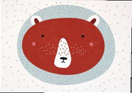 Postkarte Bär rot