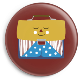 Button Schulranzen mit Gesicht, gelb