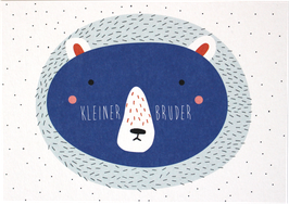 "Postkarte Bär blau ""kleiner Bruder"""