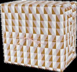 Geschenkpapier Squares, rosa/ocker (3 Bogen)