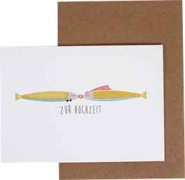 """Klappkarte Fische pastell """"Zur Hochzeit"""""""