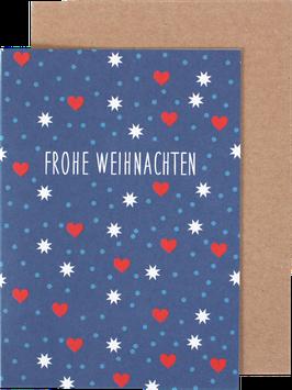 Klappkarte Herzchen und Punkte, blau/weiss/rot - Frohe Weihnachten
