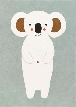 Postkarte Koala, weiss/eisblau (ohne Text)