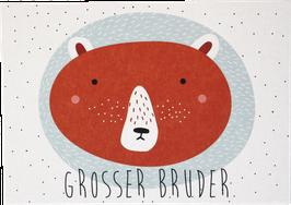"""Postkarte Bär rot """"grosser Bruder"""""""
