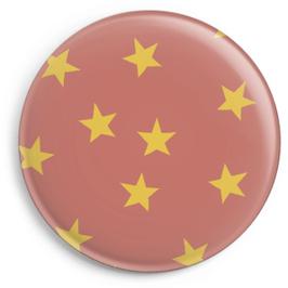 Magnet altrosa mit gelben Sternen (32 mm)